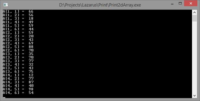 Двухмерный массив с названием и индексами в консольном приложении